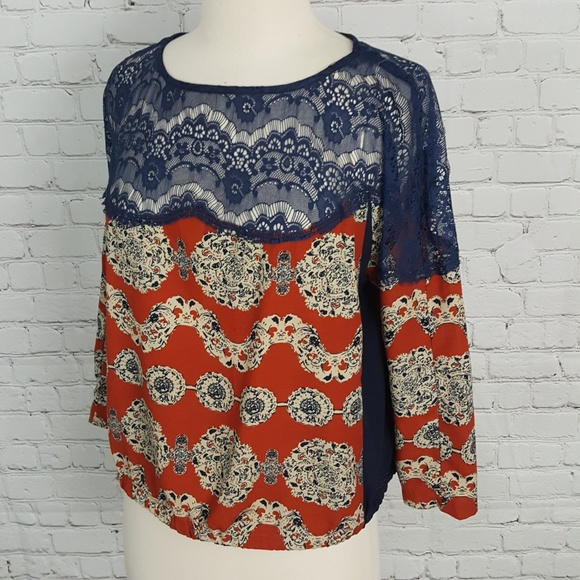 Kut from the Kloth Rust Navy Lace Peasant Blouse M